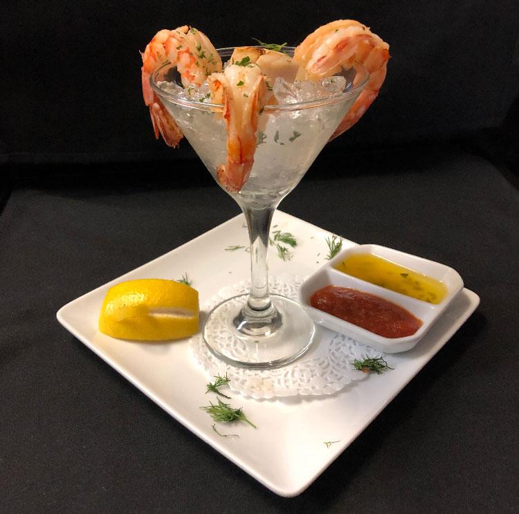 Entrée – Crevettes et pétoncles – Restaurant Mme Cécyle